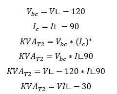 vbc=v, all three voltages are same across the open delta winding  negative  of ic is taken to align ic with the voltage vector